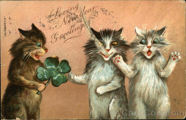 Loving New Year Greetings With Three Cats And A Clover