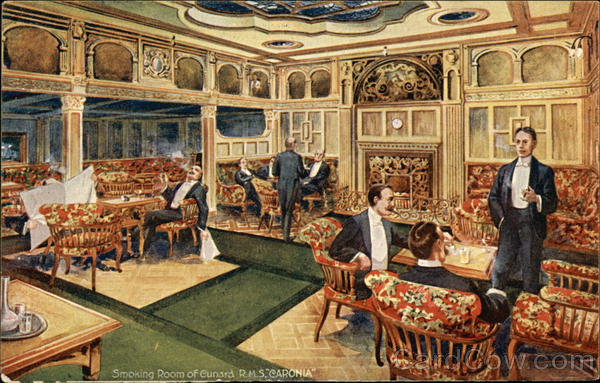 Smoking Room Of Cunard RMS Caronia Interiors Postcard