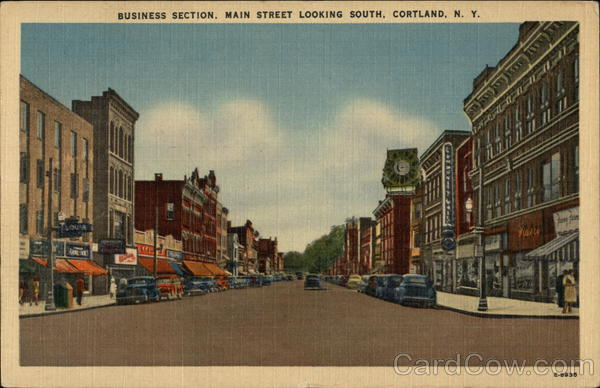 Business Section Main Street Looking South Cortland NY