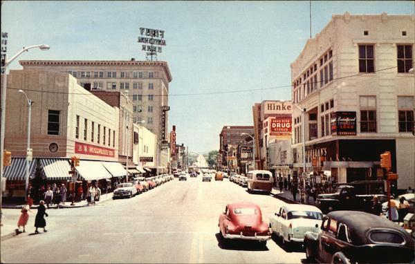 Central Avenue And Fourth Street Albuquerque NM Postcard