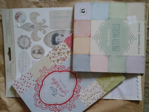 Vintage stickers, pastel paperpad from the works and Rose gardens paper pad from pound poundstrecher.