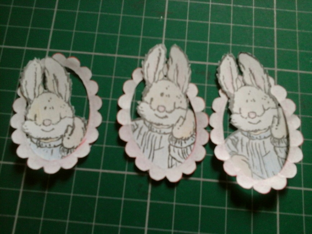 three pale rabbits in frames