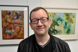 VIEWS OF WRITERS AND ARTISTS AT OPENING OF EXHIBITION IN HEARTH GALLERY