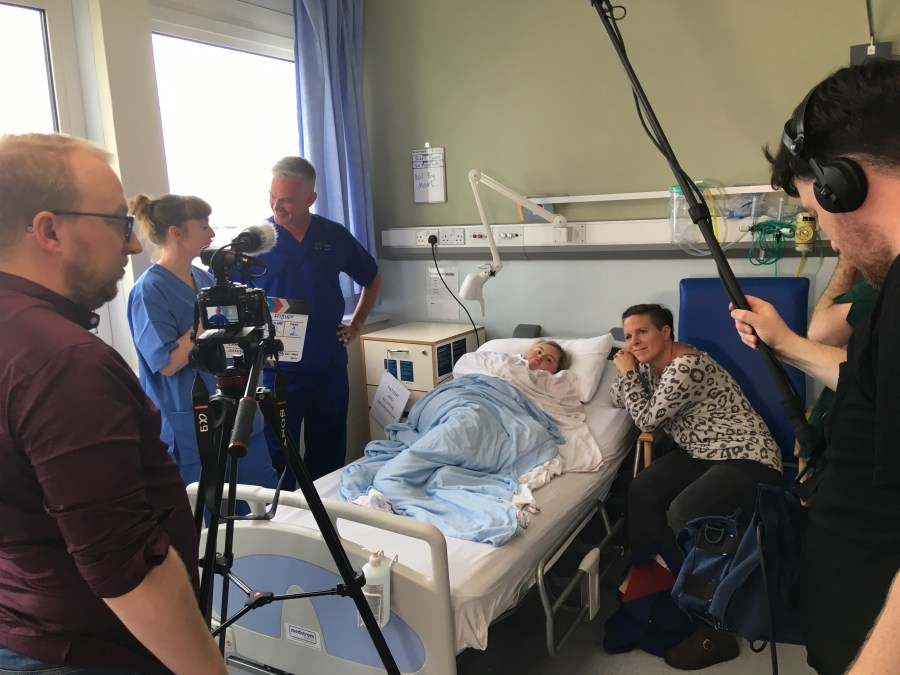 Filming in hospital with an actor from Hijinx.