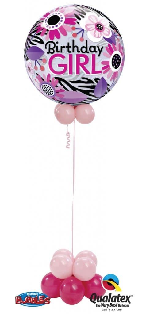 Birthday Pink Zebra Bubble Image