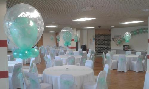 Elegant Double Bubbles at County Hall Cardiff. #weddingballoonscardiff