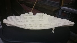 A scale model of the discovered Newport Ship timbers