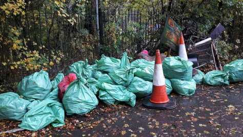 A pile of rubbish bags