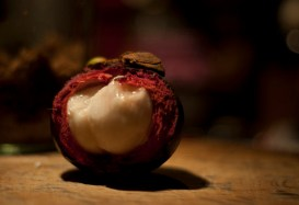 The purple mangosteen (Garcinia mangostana), colloquially known simply as mangosteen.