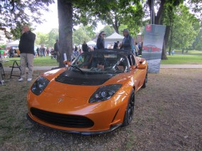 Electric car at the environment festival in the Sofienberg park.