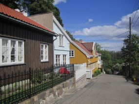 Small wooden houses next to the allotment garden in Akersbakken