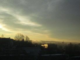 Early winter morning. View of Oslo seen from Gjerdrums Vei 19 (backside of Opera Software building).