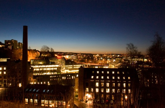 Early winter morning. View of Oslo seen from Gjerdrums Vei 19 (on the backside of Opera's building).