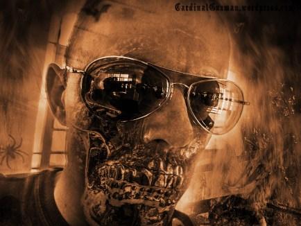 Burning skull, self-portrait.