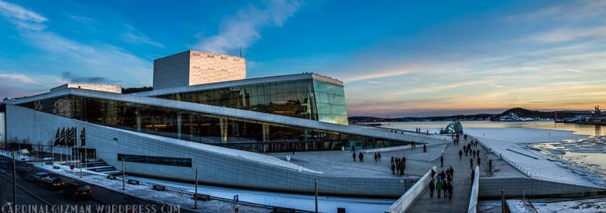 Panoramic photo of the Oslo Opera House.