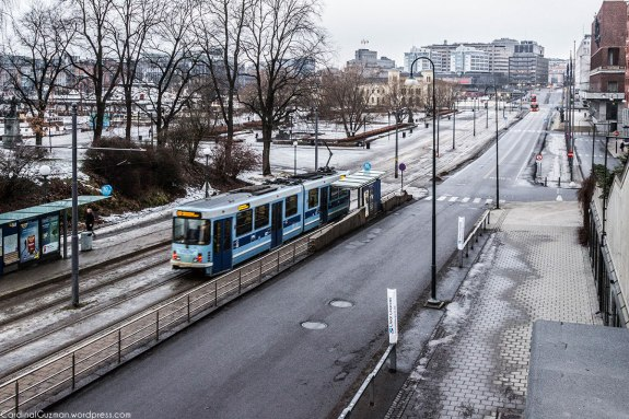 "Tram @ Rådhusplassen (""The City Hall Square""), a square located between Oslo City Hall and the Oslofjord."