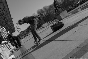 Skateboarding outside Oslo City Hall.