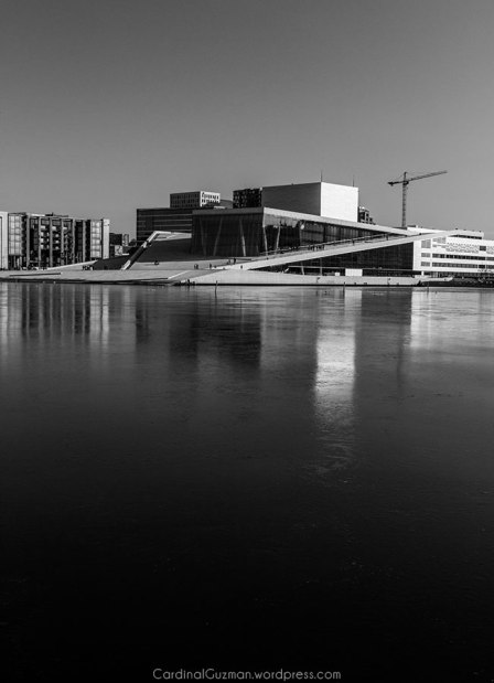 The Oslo Opera House is situated in the Bjørvika neighborhood of central Oslo, at the head of the Oslofjord. Here there's a thin layer of ice on the fjord.