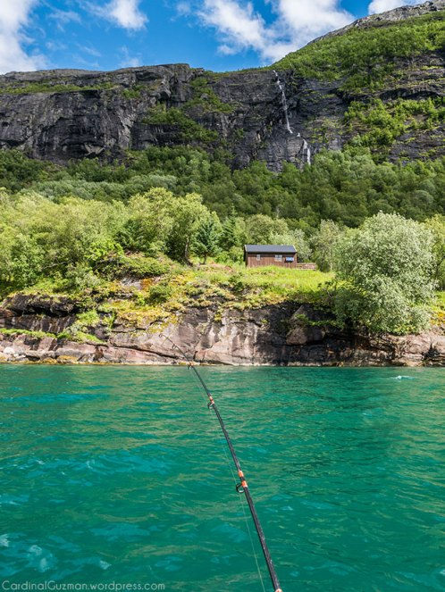 A small cabin, a waterfall and cod fishing.