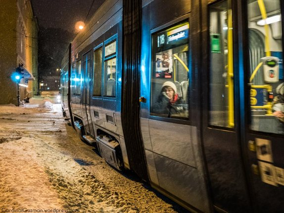 Tram passing by