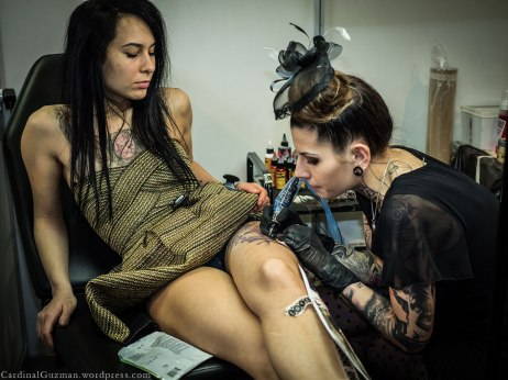 The world's most beautiful tattoo artist, a.k.a. Zsófia Bélteczky tattooing at Budapest Tattoo Convention 2016.