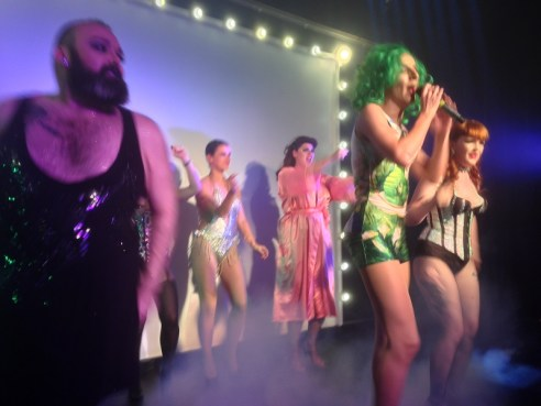Drag queens and Burlesque entertainment at the tattoo convention after-party.