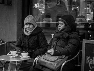 Coffee break in the cold weather.
