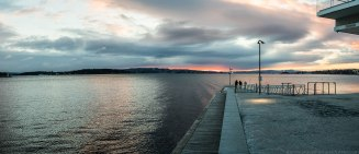 Sunset seen from Tjuvholmen, Oslo.