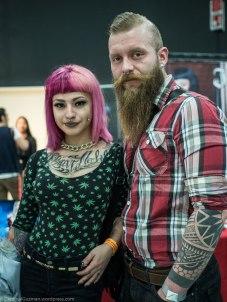 A tattooed couple.
