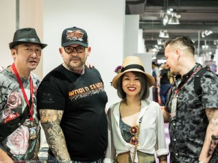Cezanne De Pitou and Alex from World Tattoo Events, plus two people I don't know the name of (the person on the left and the woman).