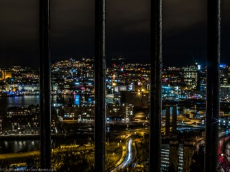 Oslo behind bars. Night photo from Ekebergåsen