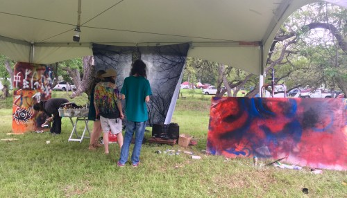 Image of spray painting class by Rebecca Fikac
