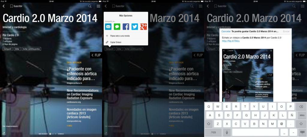 En la portada de tu revista encontrarás accesos para compartir de forma fácil tu revista de Flipboard a través de las redes sociales o el correo