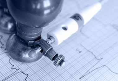 Medical concept. Monochrome photos of electrocardiogram