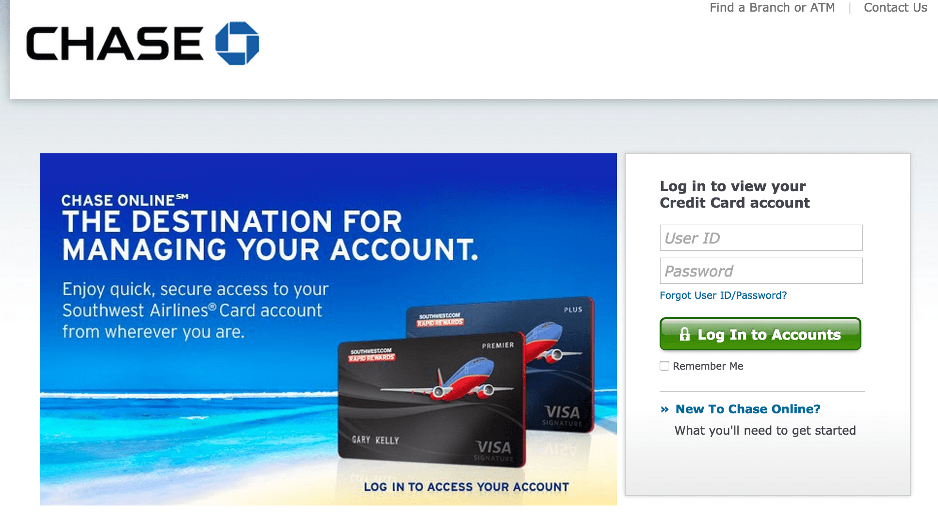 Make Chase Credit Card Payment