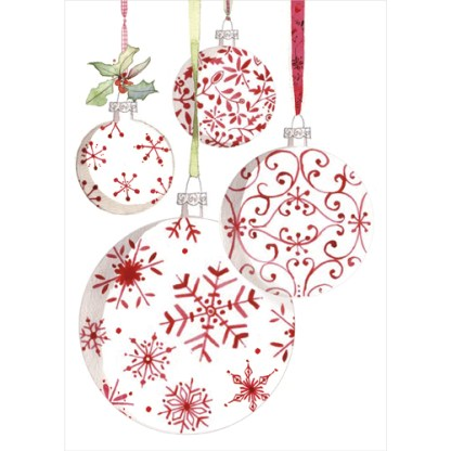 red and white baubles christmas cards