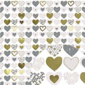 metallic gold hearts gift wrap