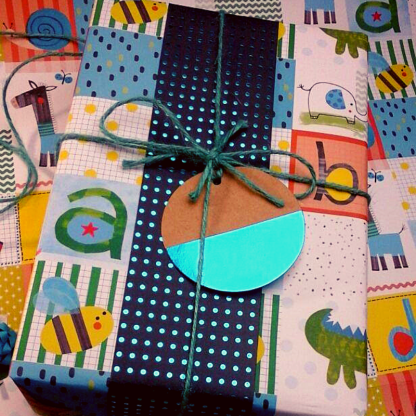 patchwork blue gift wrap