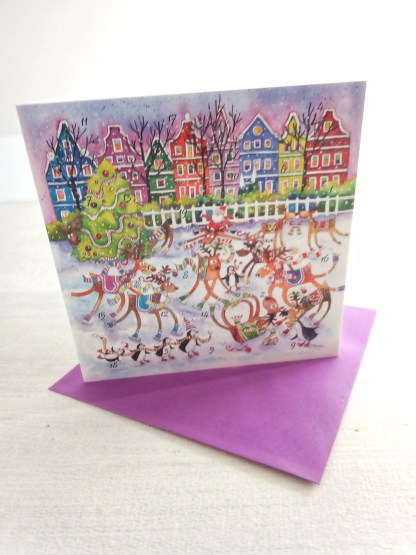 Reindeer Rink advent calendar card