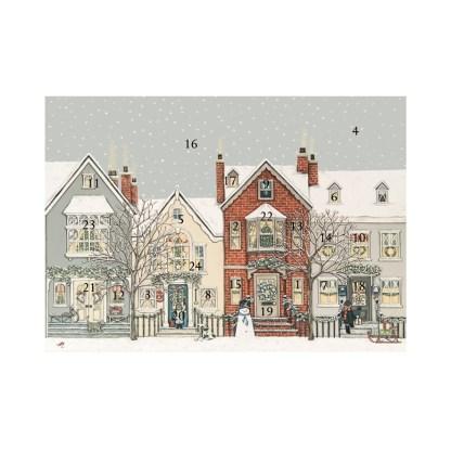 Snowy street advent calendar card