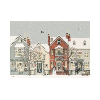 Snowy street advent calendar card
