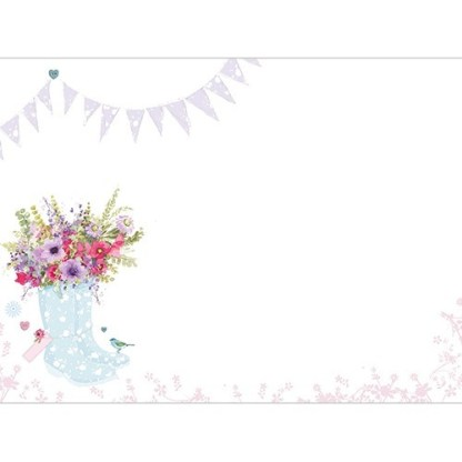 Flowers and Blue Wellies Notecards