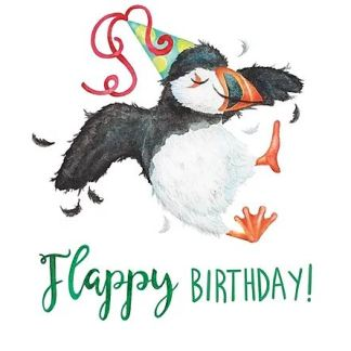 flappy birthday puffin card