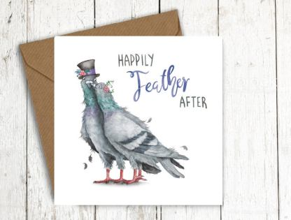 Happily Feather After pigeons card