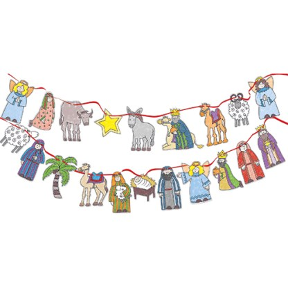colour in nativity bunting