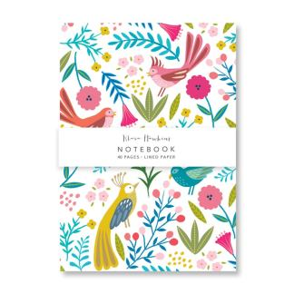 Light boho birds small notebook