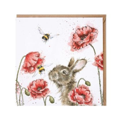 Let it Bee Rabbit and Poppies card