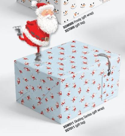 Skating Santas gift wrap