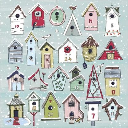 Bird Houses Advent Calendar Card
