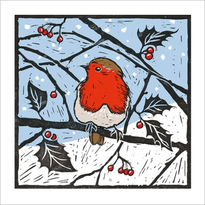 Robin and Holly Christmas Cards